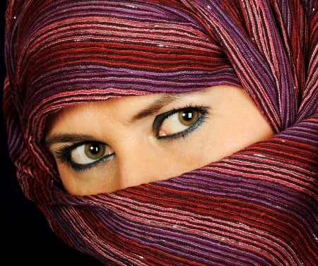eyes hidden: Close up picture of a Muslim woman wearing a  veil