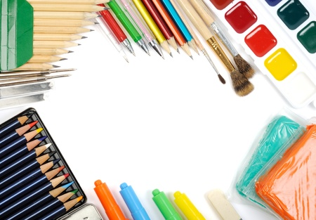 School and office supplies frame, on white background, back to school Stock Photo - 13405215