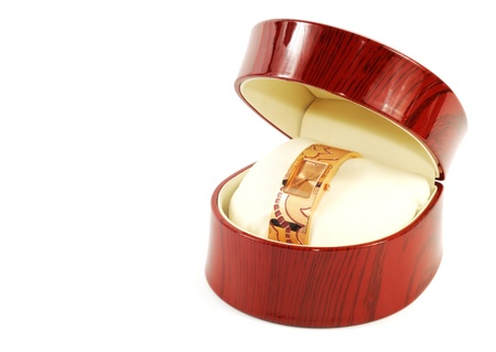 Woman fastion watch in wooden box ,over white photo