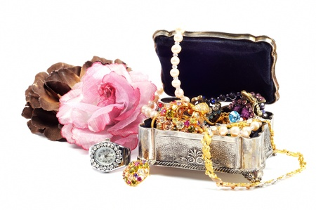 Accessory and jewelry in silver jewel chest,  white background Stock Photo - 13727553