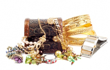 Accessory and jewelry in a wooden jewel chest, over white Stock Photo - 13727552