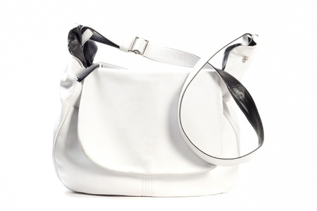 leather woman: White leather woman purse, on a white background