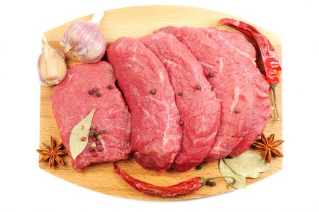 Fresh raw beef and spice , on a wooden desk,  white background photo