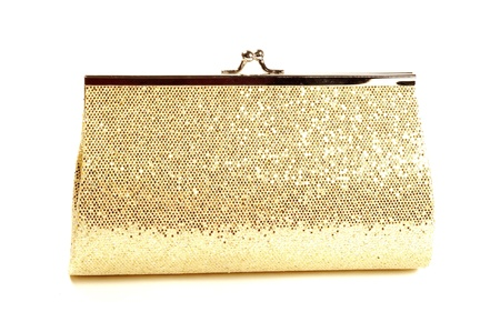 clutch: Golden clutch, closeup,  on a white background Stock Photo