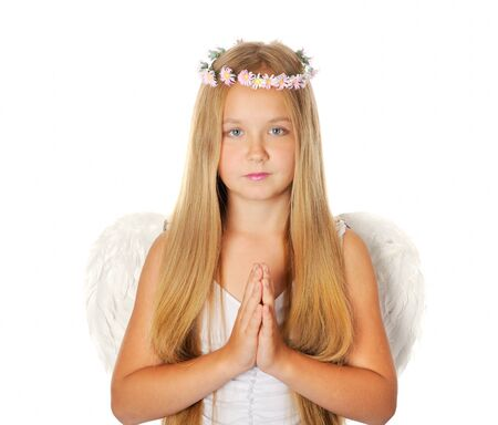 Blong girl dressed like an angel, isolated on white background photo