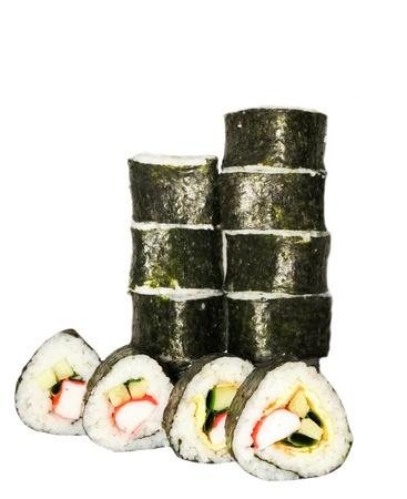 makki: Traditional Japanese sushi, isolated on white background Stock Photo