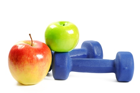 Fitness dumbbells and fruits,  over white photo
