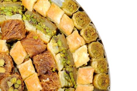comida arabe: Dulces libaneses en una caja, cerca disparo