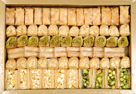 Lebanese sweets in a  box  , close up shot photo
