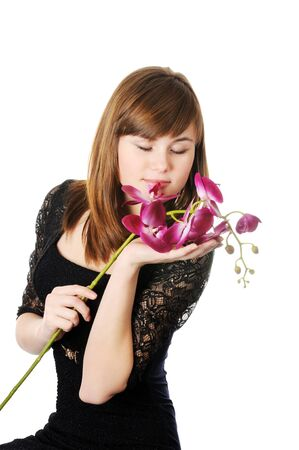 Beautyful girl and orchid Stock Photo - 17067679