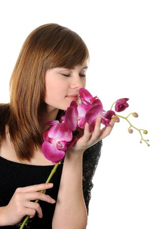 Beautyful girl and orchid Stock Photo - 17539074