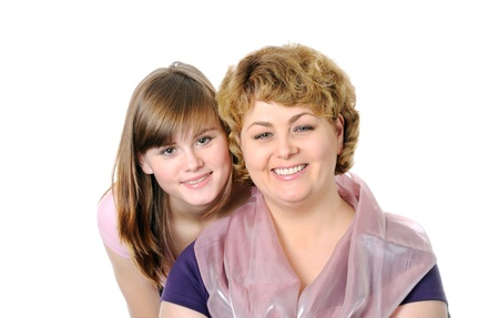 Smiling mom and  doughter  , on a white background photo