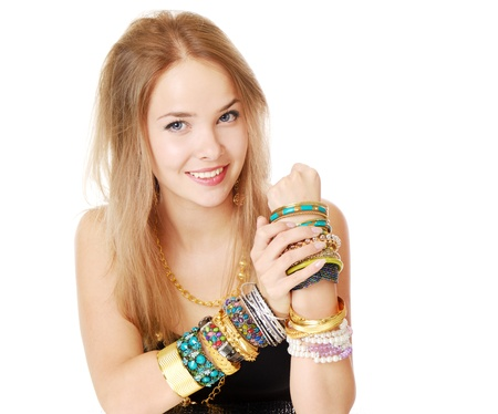 girl alone: Teen girl with los of bracelets, close up portrait Stock Photo