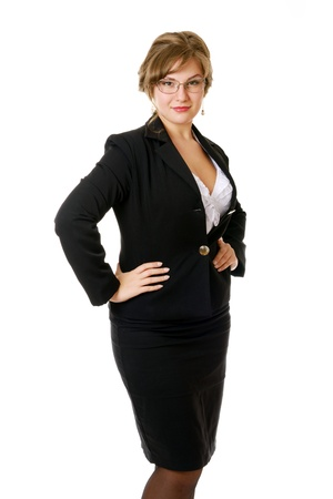 beautifull woman: Beautifull business woman, in black, isolated on white Stock Photo