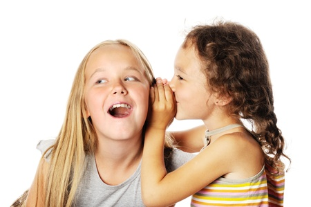 Two Gossiping kids, on a white background