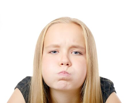 Pretty  girl making funny face, isolated on while Stock Photo - 24879259