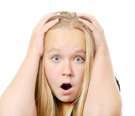 Pretty  scared girl making funny face, isolated on while Stock Photo - 24879261