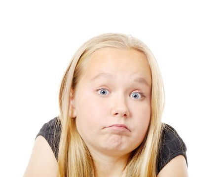 Pretty  girl making funny face, isolated on while Stock Photo - 24879264