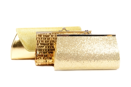 clutches: Golden clutches, closeup,  on a white background