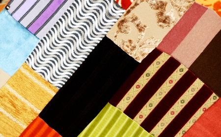 Colorful fabric samples , background, closeup shot