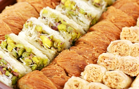 Arabic sweets with nuts  , close up shot