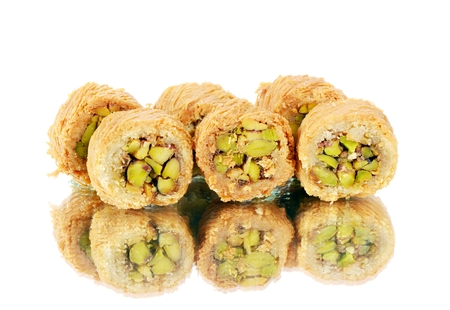 pistachios: Arabic sweets with pistachios  , close up shot Stock Photo