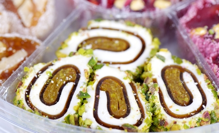 locum: Arabic sweets with nuts  , close up shot