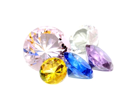 stunningly: Colorful diamonds on a white background, isolated