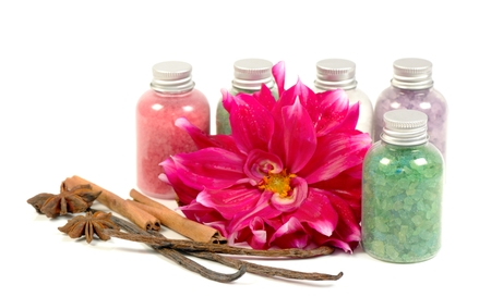 anice: Natural mineral salt, flowers, vanilla and anice on a white background
