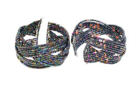 karat: Colorful gem  bracelets ,  on a white background Stock Photo