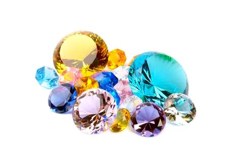 Colorful diamonds on white