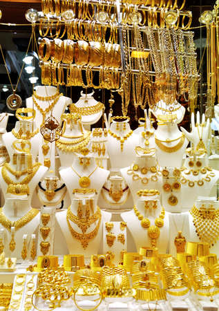 Golded jewels in a shop window