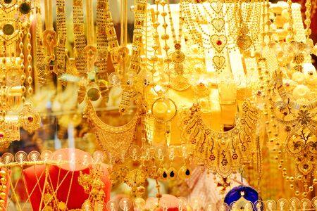 Golded jewels sets in a show room