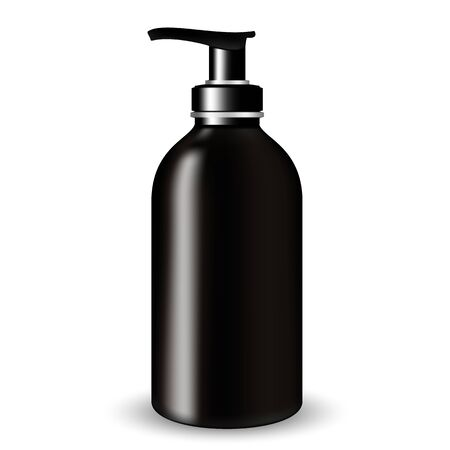 Vector Packaging: Dark Glass Cosmetic Bottle beauty products with black pump lid on white isolated background. Mock-up template ready for design.