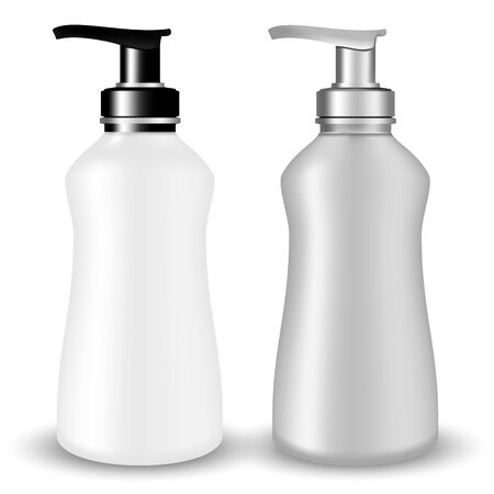 Vector Packaging: SET of Gray and white plastic Cosmetic Bottle beauty products with black and silvery pump lid on white isolated background. Mock-up template ready for design.