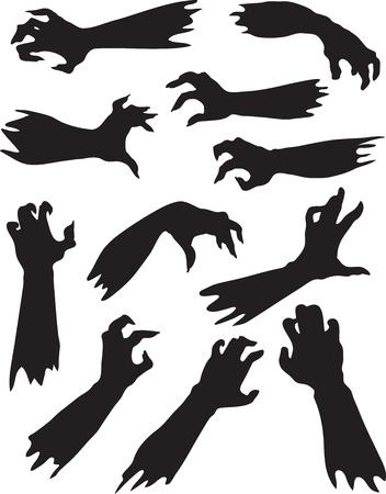 bevoelen: Helloween instellen van eng zombie handen silhouetten Stock Illustratie