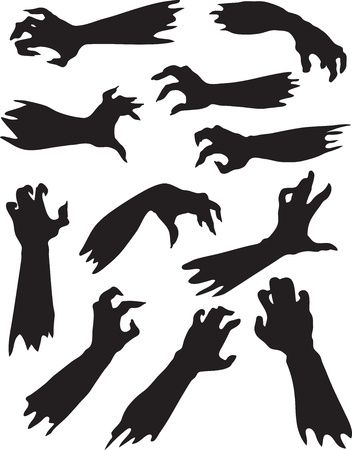 creepy monster: Helloween set of scary zombie hands silhouettes