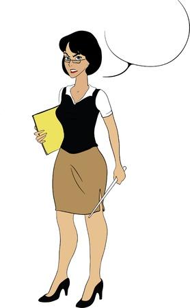 maestra preescolar: Señora maestra con papeles y dibujos animados puntero