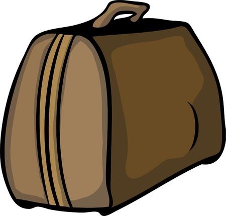 attache: Vector hand drawn brown retro luggage bag