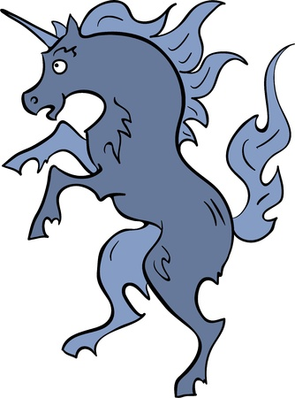 A vector illustration of standing on his legs blue unicorn.