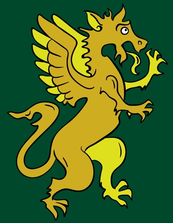 myth: Standing heraldic griffin cartoon character with lifted paw. Illustration