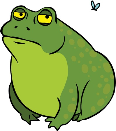 Grumpy frog cartoon character looking at mosquito