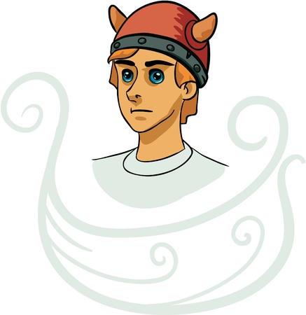 Portrait of young viking cartoon character decorated with ship silhouette
