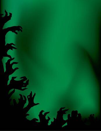 bras lev�: Zombie partie � l'arri�re-plan vert ciel avec les mains en l'air