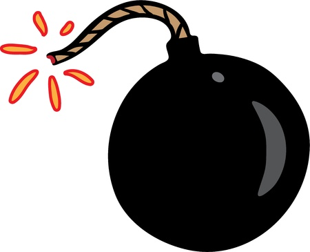 Little black bomb with spark Illustration