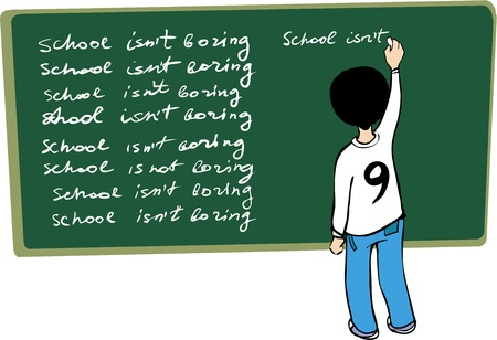 Kid writing on the blackboard Illustration