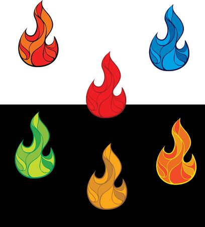 Set of colorful fire flames Illustration