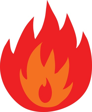 Symbol of fire flames isolated