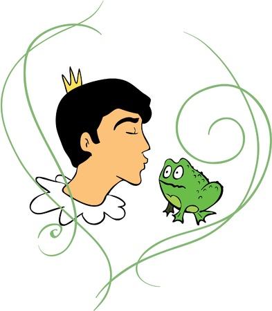 Prince kisses frog Illustration