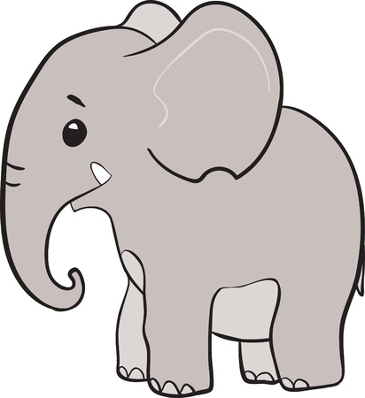 Cute little elephant cartoon character